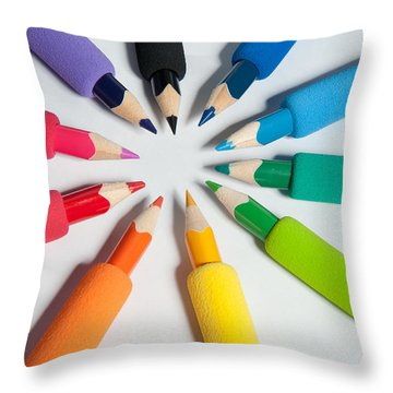 Rainbow Of Crayons Throw Pillow