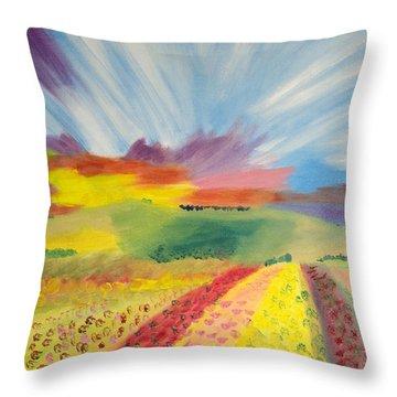 Rainbow Of Flowers Throw Pillow by Meryl Goudey