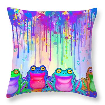 Rainbow Of Painted Frogs Throw Pillow