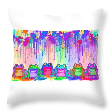 Throw Pillow featuring the painting Rainbow Of Painted Frogs by Nick Gustafson