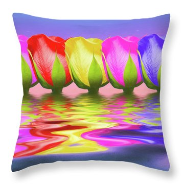 Rainbow Of Roses II Throw Pillow