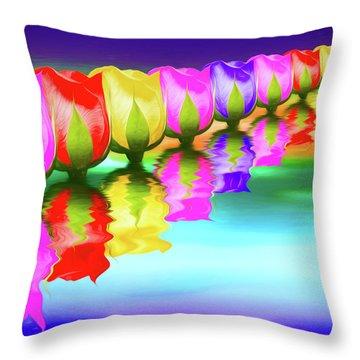 Rainbow Of Roses IIi Throw Pillow