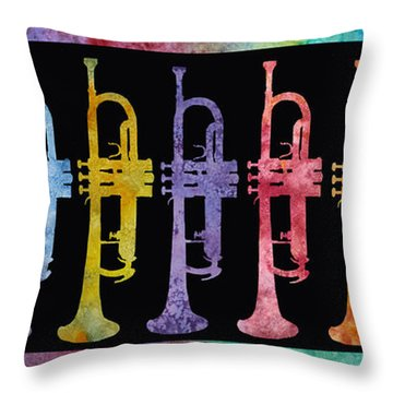 Rainbow Of Trumpets Throw Pillow by Jenny Armitage