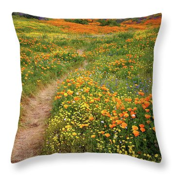 Rainbow Of Wildflowers Bloom Near Diamond Lake In California Throw Pillow by Jetson Nguyen