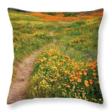 Rainbow Of Wildflowers Bloom Near Diamond Lake In California Throw Pillow
