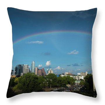Rainbow Over Austin Throw Pillow
