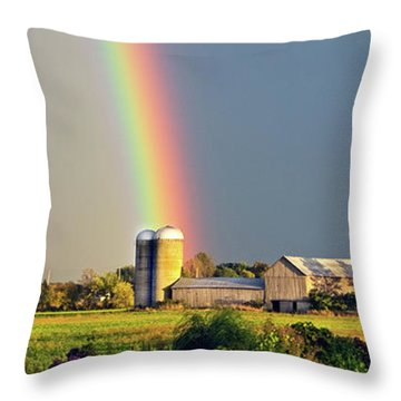Rainbow Over Barn Silo Throw Pillow