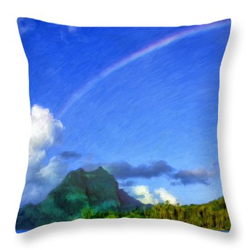Rainbow Over Bora Bora Throw Pillow