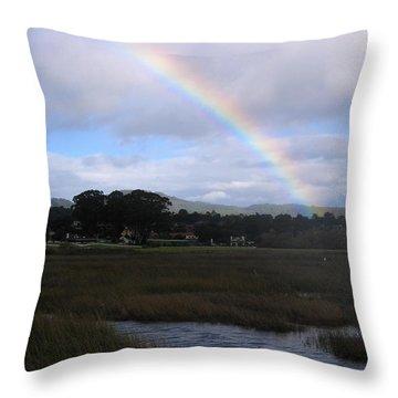 Rainbow Over Carmel Wetlands Throw Pillow