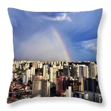 Rainbow Over City Skyline - Sao Paulo Throw Pillow