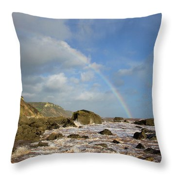 Rainbow Over Dunscombe Cliff Throw Pillow