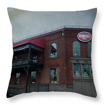 Rainbow Over Genesee Beer Throw Pillow