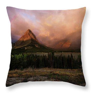 Rainbow Over Mt Gould Throw Pillow