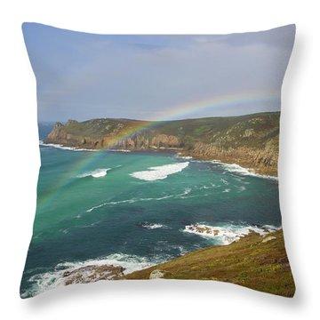 Rainbow Over Nanjizal Bay In Cornwall Throw Pillow