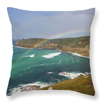 Rainbow Over Nanjizal Bay In Cornwall Throw Pillow