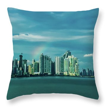Rainbow Over Panama City Throw Pillow