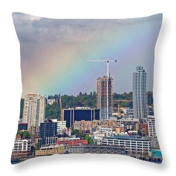 Rainbow Over Seattle Throw Pillow