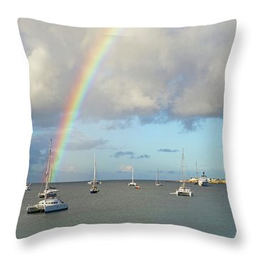 Rainbow Over Simpson Bay Saint Martin Caribbean Throw Pillow