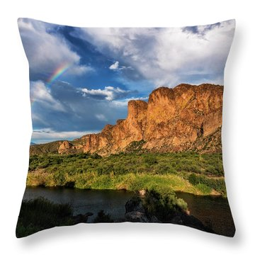 Throw Pillow featuring the photograph Rainbow Over The Bulldogs  by Saija Lehtonen