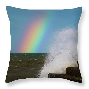 Rainbow Over The Crashing Waves Throw Pillow