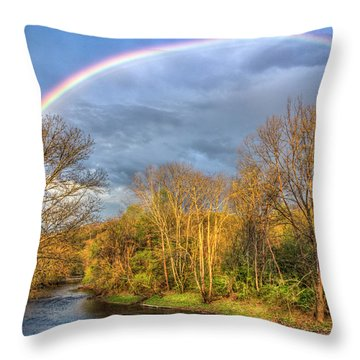 Throw Pillow featuring the photograph Rainbow Over The River by Debra and Dave Vanderlaan