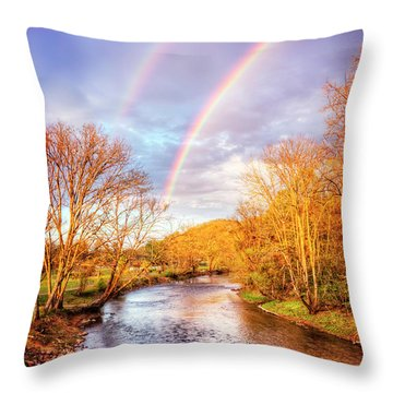 Throw Pillow featuring the photograph Rainbow Over The River II by Debra and Dave Vanderlaan