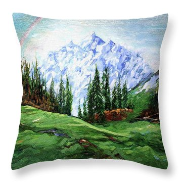 Rainbow Over The Snow Covered Mountain Throw Pillow