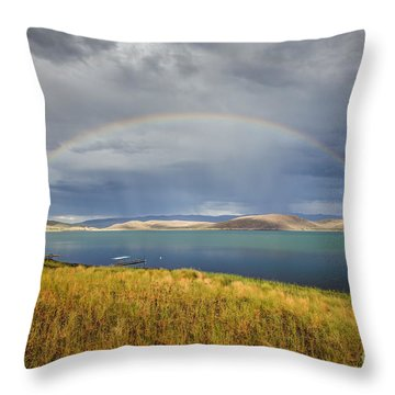 Rainbow Over Topaz Lake Throw Pillow