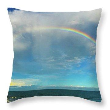 Rainbow Over Topsail Island Throw Pillow