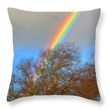 Rainbow Over Trees Throw Pillow