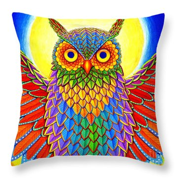 Rainbow Owl Throw Pillow