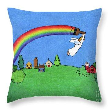 Rainbow Painter Throw Pillow