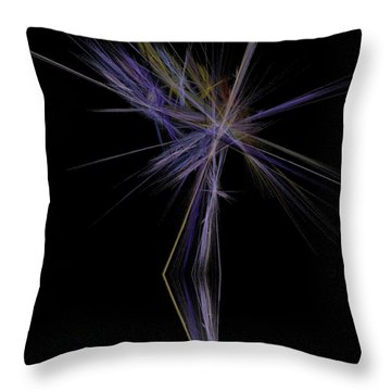 Throw Pillow featuring the digital art Rainbow Palm by Sara  Raber