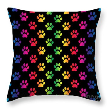 Rainbow Pawprints Throw Pillow