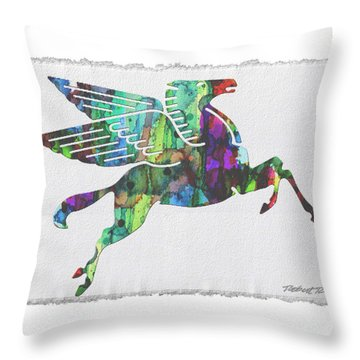 Rainbow Pegasus Mobil Print Poster Throw Pillow