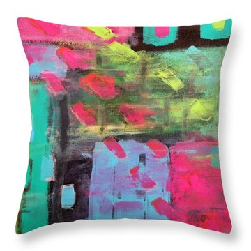 Rainbow Rain Throw Pillow
