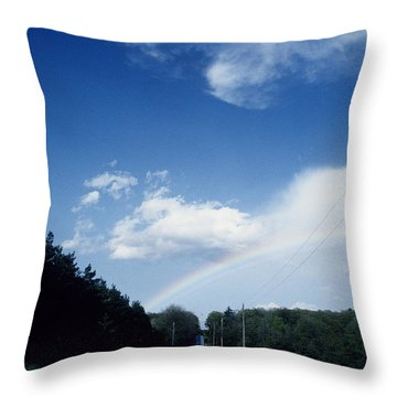 Rainbow Road Blue Sky Throw Pillow