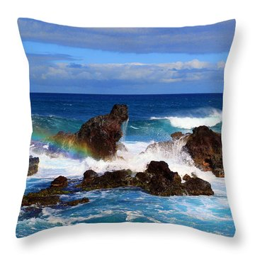 Rainbow Rocks Throw Pillow by John Bushnell