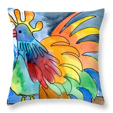 Rainbow Rooster Throw Pillow