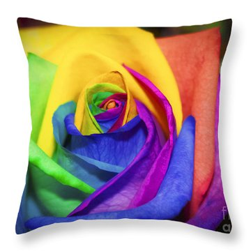 Rainbow Rose In Paint Throw Pillow