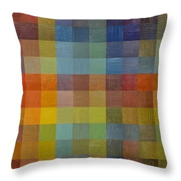Rainbow Rustic Throw Pillow by Michelle Calkins