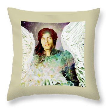 Throw Pillow featuring the painting Rainbow Saint Michael by Suzanne Silvir