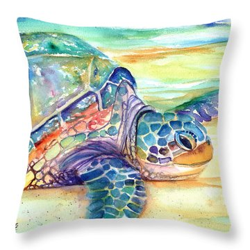 Rainbow Sea Turtle 2 Throw Pillow
