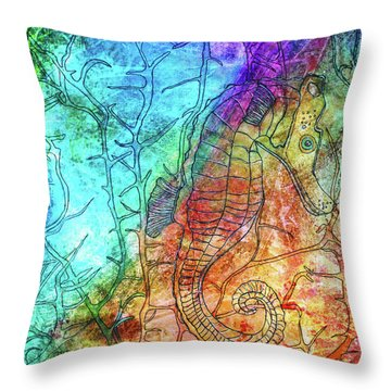 Rainbow Seahorse Throw Pillow