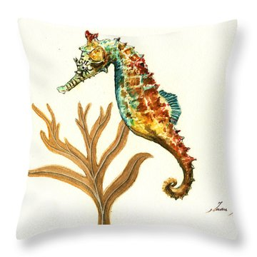 Rainbow Seahorse Throw Pillow by Juan Bosco