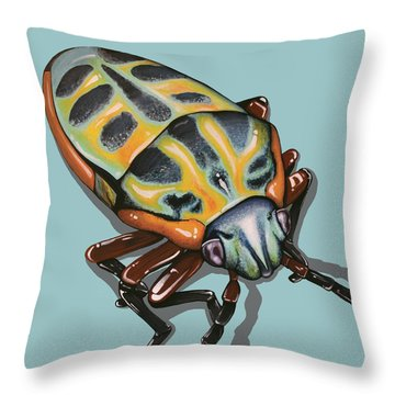 Throw Pillow featuring the painting Rainbow Shield Beetle by Jude Labuszewski