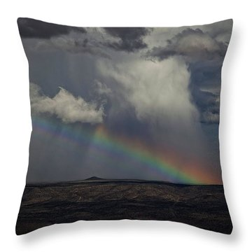 Rainbow Storm Over The Verde Valley Arizona Throw Pillow by Ron Chilston