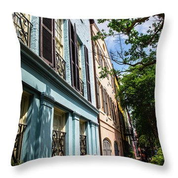 Throw Pillow featuring the photograph Rainbow Street by Karol Livote