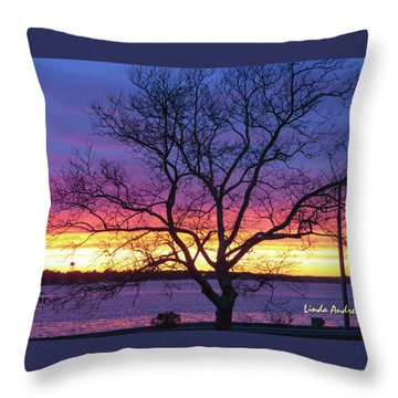 Rainbow Sunset Throw Pillow by Robert Henne