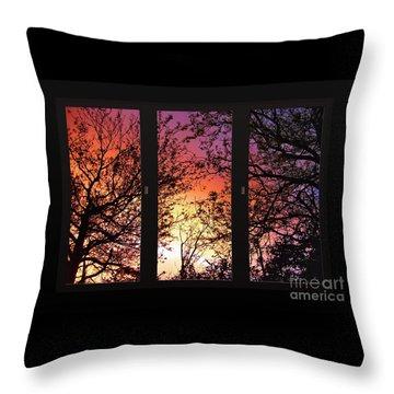 Rainbow Sunset Through Your Window Throw Pillow